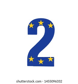 Number two or 2 with the Flag of the European Economic Community
