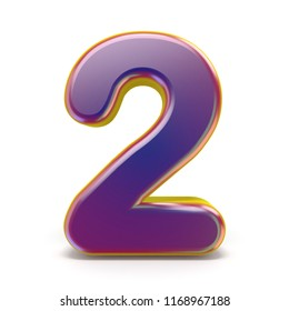 Number TWO 2 purple font yellow outlined 3D rendering illustration isolated on white background