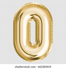 Number zero; 0 letter alphabet made of realistic 3d Gold helium balloon with Clipping Path ready to use. Illustration of balloon number collection for your design decoration; Birthday, Party, Ads.