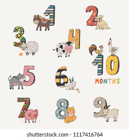 the numbers from 0 to 9 with farm animals illustrations set