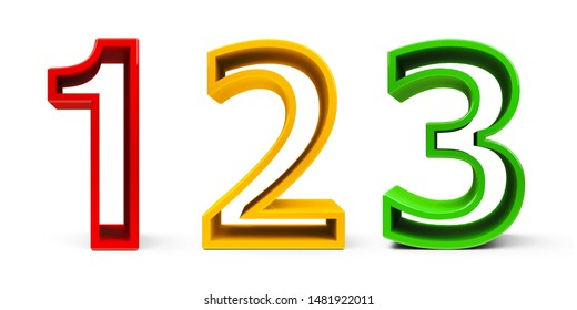 Numbers 1, 2, 3 (one, two, three) of different colors isolated on white background, three-dimensional rendering, 3D illustration