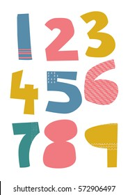 Numbers 1 - 9 in funky colorful patterned typography