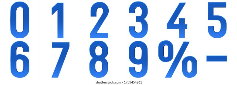 numbers 3d blue sign numerals characters percent symbol percentage interest rate sale discount icon set number 0 1 2 3 4 5 6 7 8 9 3d rendering