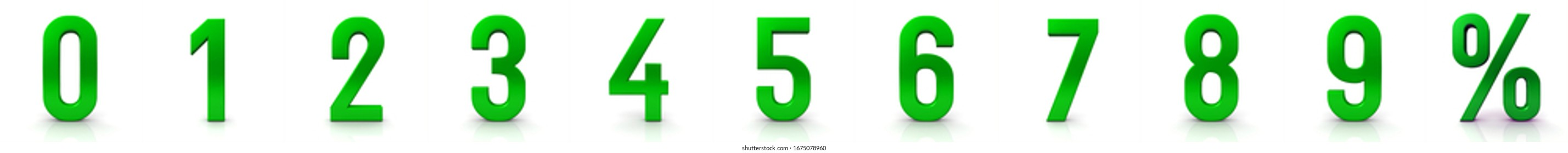 Numbers 3d green 0 1 2 3 4 5 6 7 8 9 percent sign percentage symbol percentile icon 3d rendering illustration