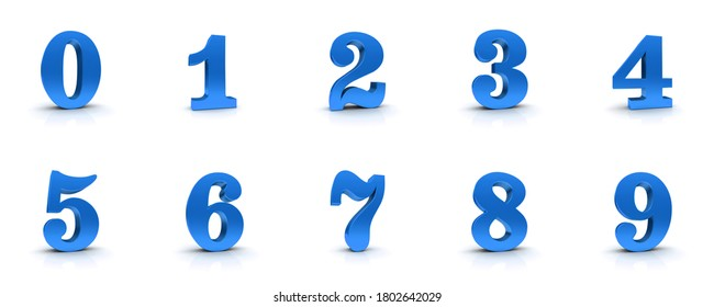 numbers blue 3d signs numerals 0 1 2 3 4 5 6 7 8 9 one two three four five six seven eight nine zero countdown set 3d rendering