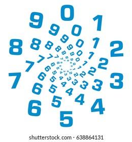 Numbers Circular Blue
