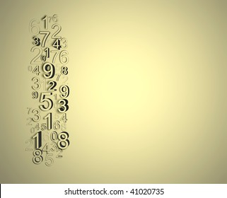 Numbers disorder, wall relief nice background with numbers border.
