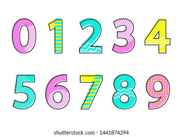 Numbers font type collection of numeric signs multi colored decorative elements with stripes pattern raster illustration isolated on white background