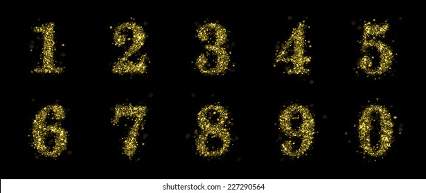 Numbers of gold glittering stars (glittering font concept).Vector christmas illustration of a shining stars numbers.