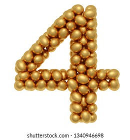 Numbers from golden eggs. isolated on white background. 3d rendering.