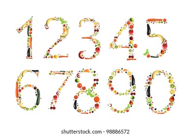 numbers made of healthy food