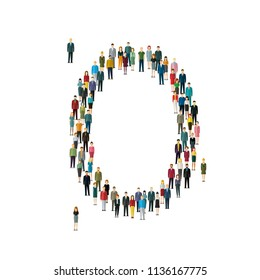 Numbers made of people. Large group of people in shape of number zero .