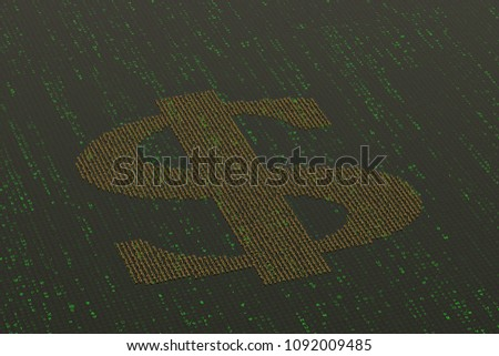 Numbers Make Dollar Symbol On Digital Stock Illustration 1092009485