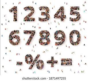 Zahlen und Symbole aus Gruppen von Personen, die von oben gesehen wurden, orthografische Projektion, 3D-Abbildung