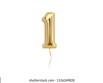 Numeral 1. Foil balloon number One isolated on white background. 3d rendering
