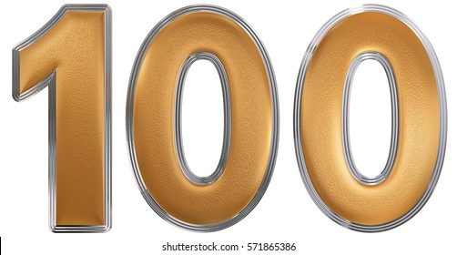 Numeral 100, one hundred, isolated on white background, 3d render
