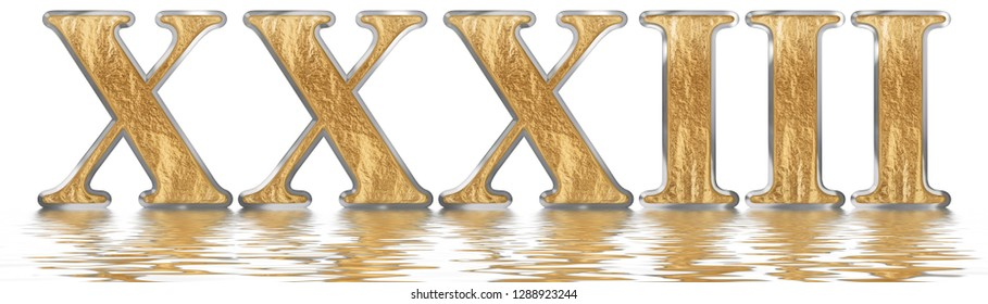 Numeral 33, thirty three, thirty, reflected on the water surface, isolated on  white, 3d render