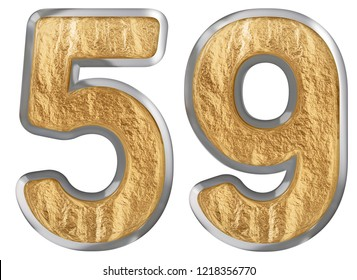 Numeral 59, fifty nine, isolated on white background, 3d render