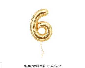 Numeral 6. Foil balloon number six isolated on white background 3d rendering
