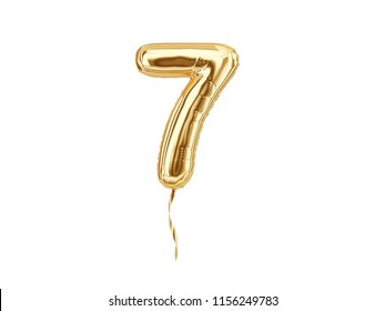 Numeral 7. Foil balloon number seven isolated on white background. 3d rendering