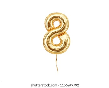 Numeral 8. Foil balloon number eight isolated on white background. 3d rendering