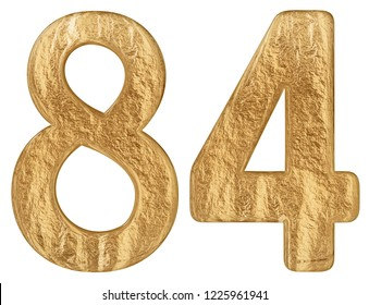 Numeral 84, eighty four, isolated on white background, 3d render
