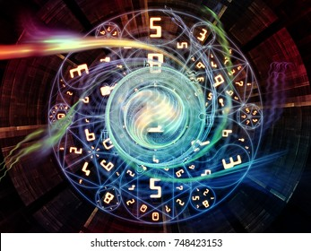 Numeric Connection series. Background composition of  number and fractal geometry symbols on the subject of magic, math and occult