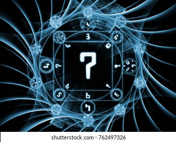 Numeric Connection series. Composition of  number and fractal geometry symbols for projects on magic, math and occult