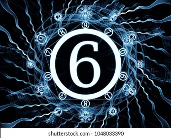 Numeric Connection series. Creative arrangement of number and fractal geometry symbols for subject of magic, math and occult