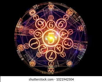 Numeric Connection series. Design made of number and fractal geometry symbols to serve as backdrop for projects related to magic, math and occult
