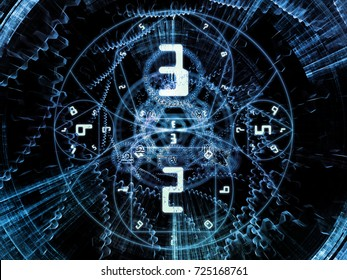 Numeric Connection series. Interplay of number and fractal geometry symbols on the subject of magic, math and occult