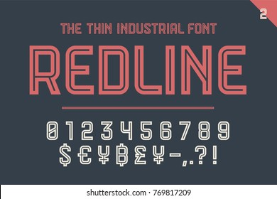 Numeric and symbol font Red Line. Part Two - Numeric, Numbers and Money Symbols. Bold and regular uppercase letters. Strong industrial inline numeric font for creative typographic. Illustration
