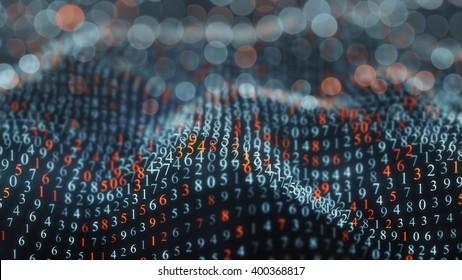 Numeric symbols wave. Shallow DOF. Abstract background