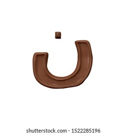 Nun Chocolate Arabic Alphabet letter  FontFamily012 new style 3d volumetric font set isolated on white background illustration