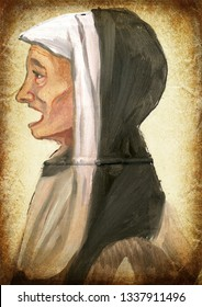 Nun. An hand painting - medieval inspiration. Vintage post-processing.