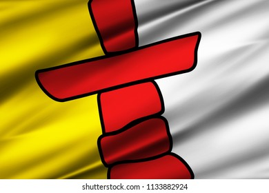 Nunavut 3D waving flag illustration. Texture can be used as background.