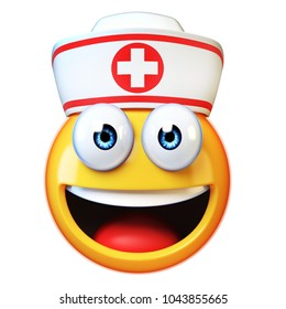 Nurse emoji isolated on white background, first aid, medic emoticon, hospital symbol 3d rendering