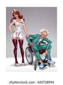 nurse and  old man. Funny illustration of a sexy nurse and grandfather naughty.