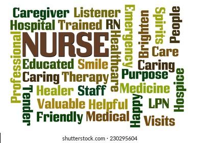 Nurse word cloud on white background
