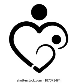 Nursery baby and mother concept. Heart shape. Breastfeeding icon