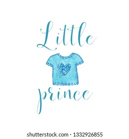 Nursery baby print little prince with watercolor blue shirt from ribbon graphic for typography poster, card, label, brochure, flyer.