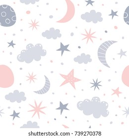 Nursery baby seamless pattern. Children illustration.