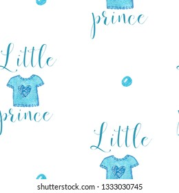 Nursery baby seamless print with little prince text with watercolor blue shirt. Graphic for typography poster, card, label, brochure, flye, wallpaper.