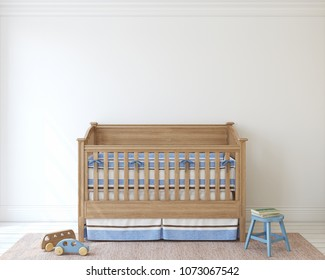 Nursery for boy. Interior mockup. 3d render.