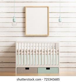 Nursery frame mockup. 3d rendering.
