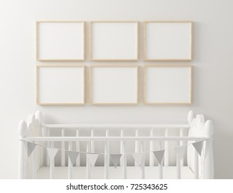 Nursery frame mockup 6 panel. 3d rendering.