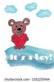 Nursery inscription of phrase its a boy with bear and heart. Nursery  print for babies clothes, card and print.