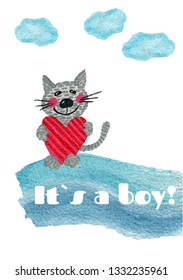 Nursery inscription of phrase its a boy with cat. Nursery print for babies clothes.