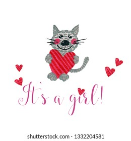 Nursery inscription of phrase its a girl with cat and heart. Nursery print for babies clothes.