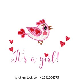 Nursery inscription of phrase its a girl with pink bird and heart. Nursery print for babies clothes.